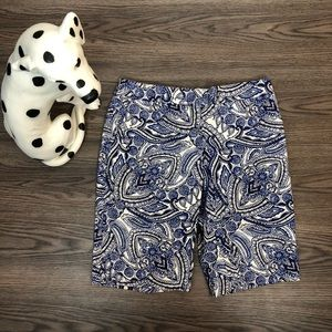 Talbots Blue Pattern Bermuda Shorts Size 6